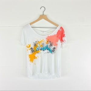 Zara W&B Collection Floral Watercolor T-Shirt
